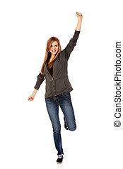 adolescent, femme, main haut