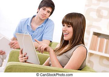 adolescent, femme, tablette, écran, -, informatique, étudiant, toucher