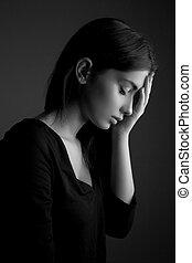 adolescent, femme, triste