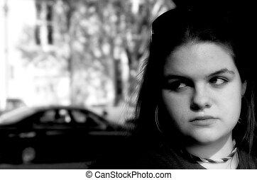 adolescent, fille sérieuse