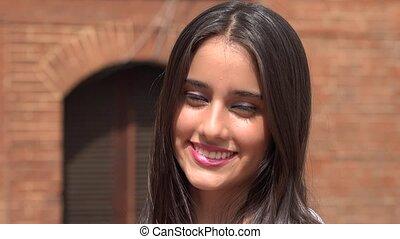 adolescent, fille souriante, femme, heureux