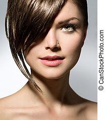 adolescent, fringe., girl, style, cheveux, élégant, court
