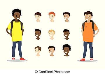 adolescent, gabarit, garçons, têtes, multiculturel