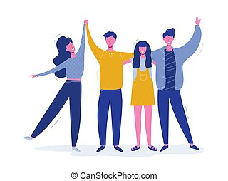 adolescent, gens, character., étreindre, filles, ensemble, position souriante, groupe, dessin animé, hands., heureux, plat, étudiants, onduler, garçons, jour, carte, école, illustration., salutation, vecteur, amis, amitié