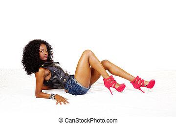 adolescent, gilet, short, américain, africaine, maigre, girl