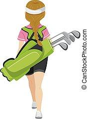 adolescent, golf, arrière affichage, girl, illustration, sac