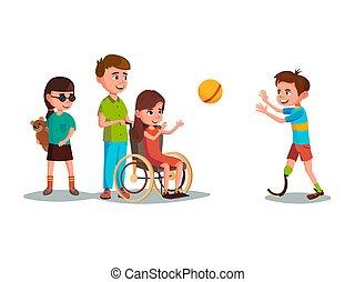 adolescent, gosses, vecteur, jouer, handicapé, ensemble, dessin animé