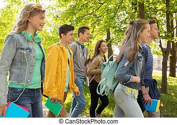 adolescent, groupe, étudiants, marche, dehors, heureux
