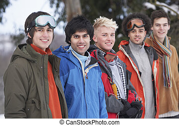 adolescent, groupe, hiver, neigeux, amis, paysage