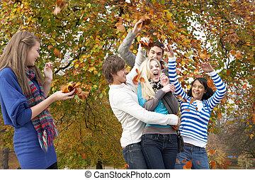 adolescent, groupe, lancement, feuilles, automne, amis, paysage