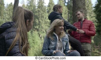 adolescent, groupe, nature, dépenser, amis, applaudissement, forêt, temps, chant