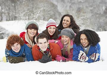 adolescent, groupe, neigeux, amusement, amis, avoir, paysage