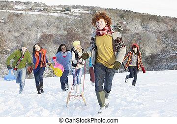 adolescent, groupe, neigeux, sledging, amis, paysage
