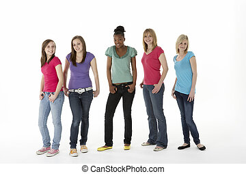 adolescent, groupe, petites amies