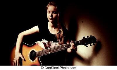 adolescent, guitare, girl, jouer, maison