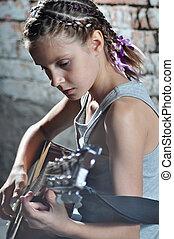 adolescent, guitare jouer, girl