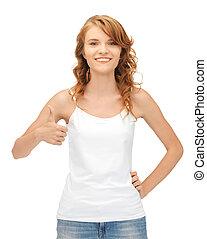 adolescent, haut, t-shirt, pouces, vide, girl, blanc