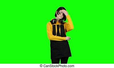 adolescent, headache., souffre, vert, écran