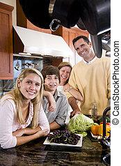 adolescent, heureux, enfants, famille, cuisine