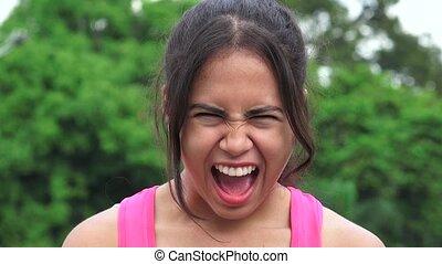 adolescent, hispanique, crier, femme