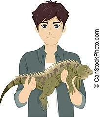 adolescent, iguane, illustration, prise, garçon, reptile