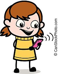 adolescent, -, illustration, vecteur, retro, utilisation, girl, wi-fi, dessin animé