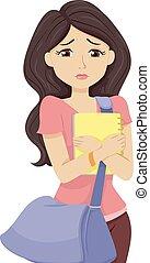 adolescent, inquiété, girl, collège, perspectives
