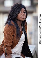 adolescent, jeune, américain, africaine, portrait, girl, heureux