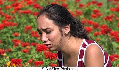 adolescent, jeune, hispanique, larmoyant, pleurer, girl
