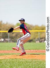 adolescent, joueur, base-ball