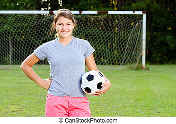adolescent, joueur, champ, portrait, girl, football