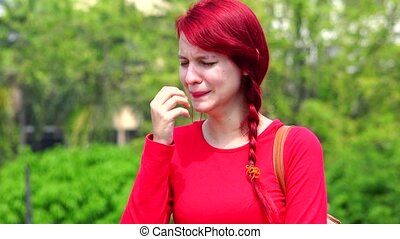 adolescent, larmoyant, girl, pleurer