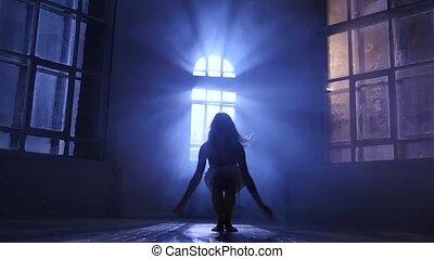 adolescent, lent, silhouette, danse, mouvement, moderne, style, contemporain, girl