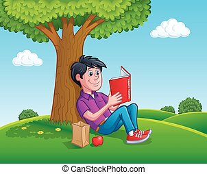 adolescent, livre, arbre, lecture, sous