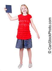 adolescent, livre, tenue