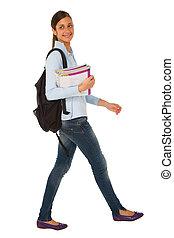 adolescent, livres, sac à dos, girl