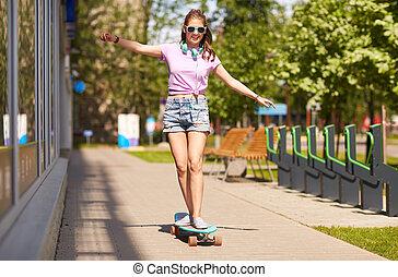 adolescent, longboard, nuances, équitation, girl, heureux