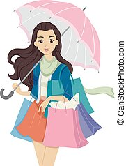 adolescent, magasin, girl, parapluie