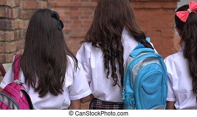adolescent, marche, filles, école