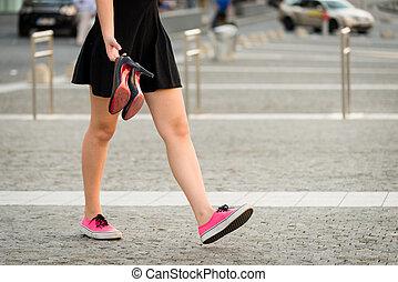 adolescent, marche, rue, bas