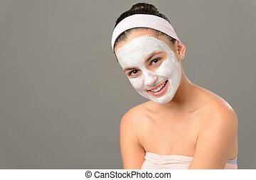adolescent, masque beauté, produits de beauté, peau, fille souriante