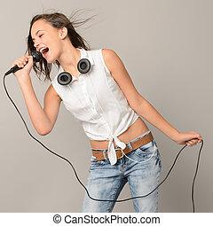 adolescent, microphone, musique, girl, chant, karaoke