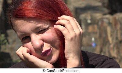adolescent, mignon, girl, cligner, redheaded