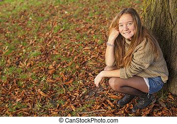 adolescent, mignon, jeune, automne, park., girl