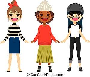 adolescent, mode, filles