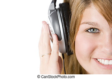 adolescent, musique, girl, écoute