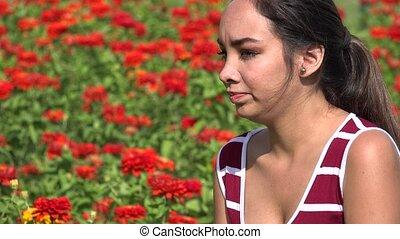 adolescent, nerveux, femme, hispanique