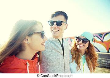 adolescent, nuances, conversation, rue, amis, heureux