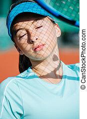 adolescent, ombre, elle, portrait, tennis, figure, girl, casquette, filet
