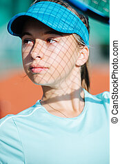 adolescent, ombre, elle, portrait, tennis, figure, jolie fille, casquette, filet